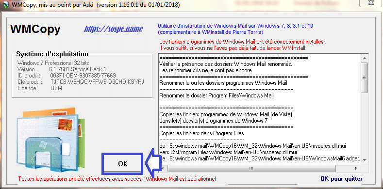 Installer Windows Mail tutoriel complet. sospc.name capture 2