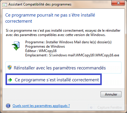 Installer Windows Mail tutoriel complet. sospc.name capture 3