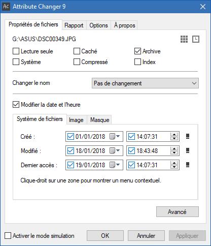 Attribute Changer, modifier facilement les date et heure de vos fichiers. sospc.name 3