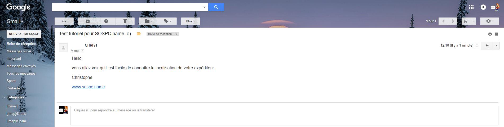 Comment localiser l'expéditeur d'un mail. capture 1