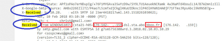 Comment localiser l'expéditeur d'un mail. sospc.name 3