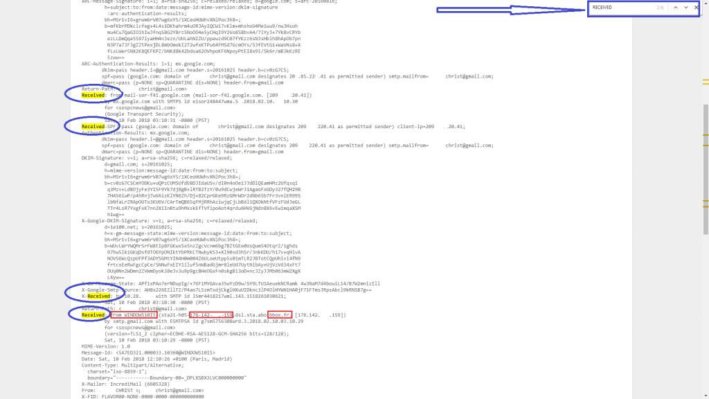 Comment localiser l'expéditeur d'un mail. sospc.name 2