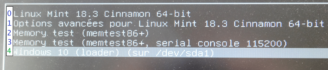 Dual Boot Windows / Linux changer priorité