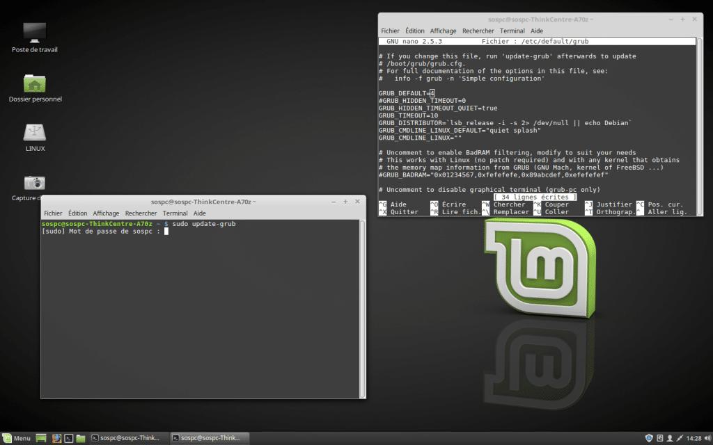 Windows / Linux modifier Os démarrage dual boot par défaut. tutoriel SOSPC