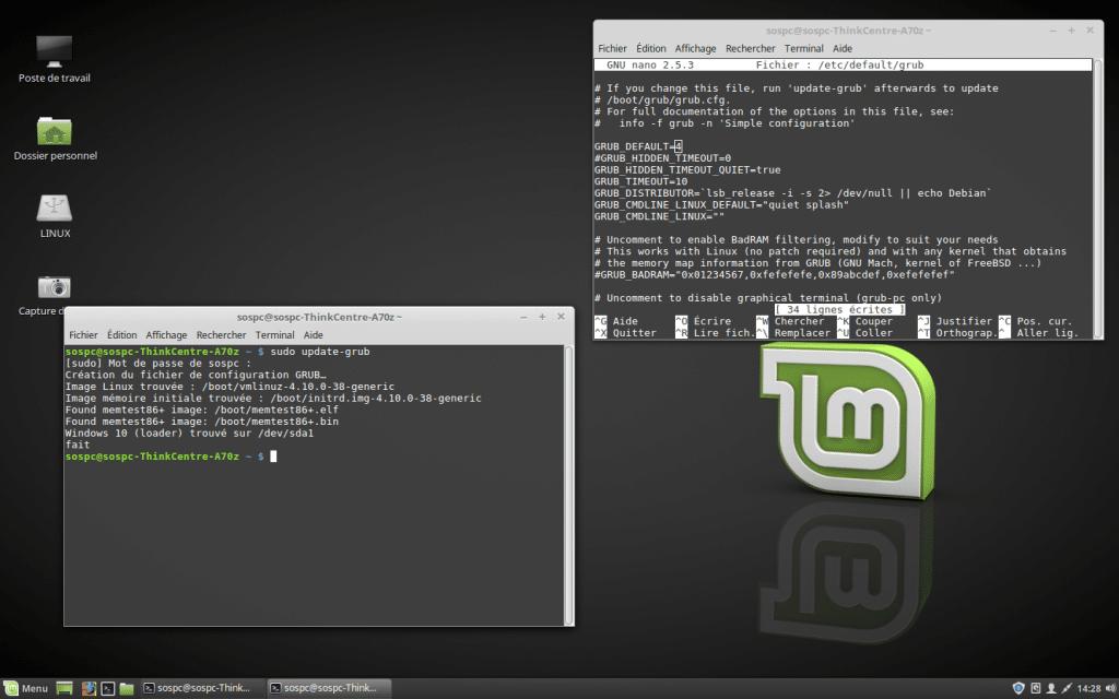 Windows / Linux modifier Os démarrage dual boot par défaut. tutoriel SOSPC.name