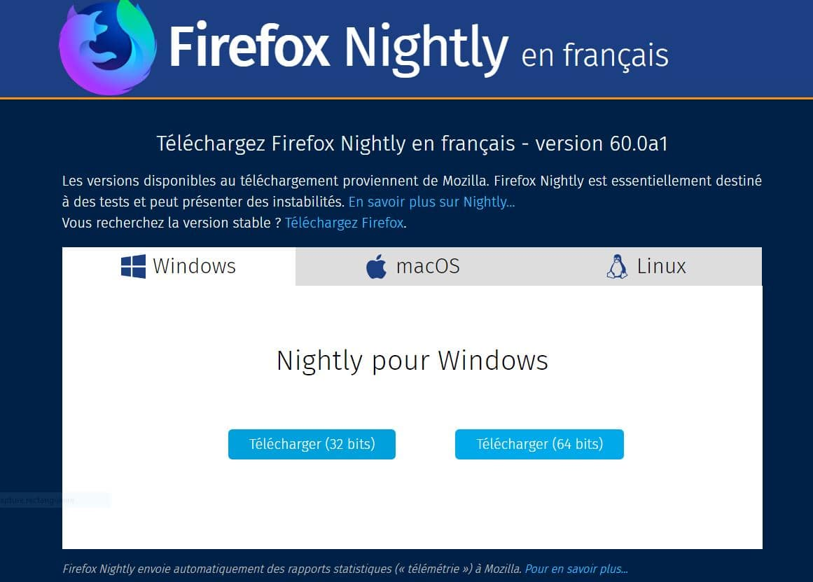 Firefox 60 Nightly, téléchargement.