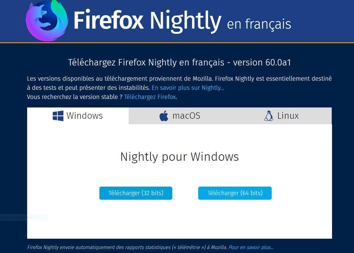 Firefox 60 Nightly, téléchargement.
