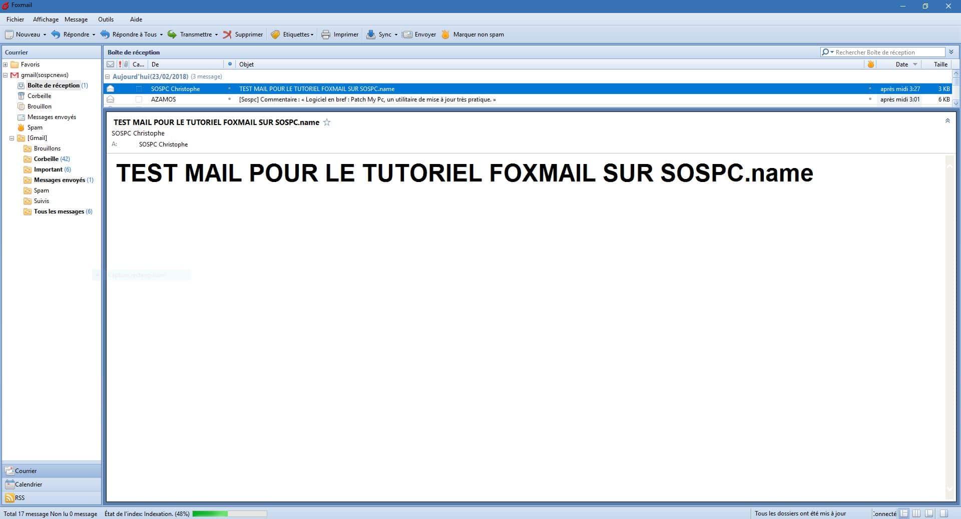 Foxmail tutoriel français détaillé sur SOSPC