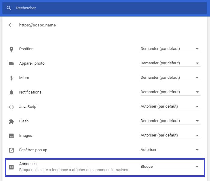 réglages bloqueur de publicités intégré dans google chrome tutoriel sospc