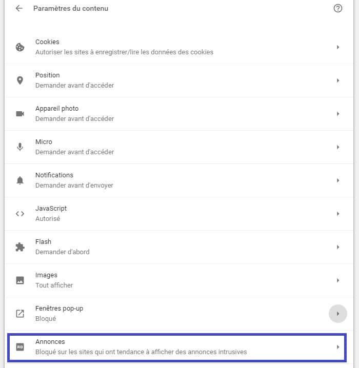 désactiver bloqueur de publicités intégré à google chrome sospc