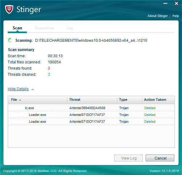 Stinger Antivirus portable mcafee
