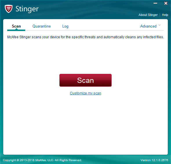 Stinger Antivirus portable, tutoriel