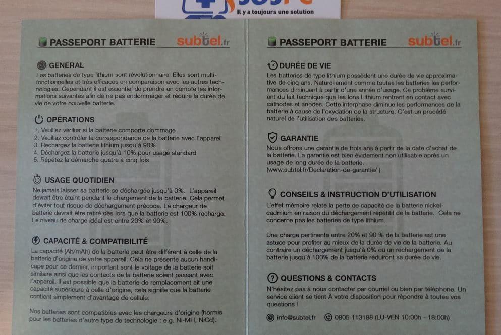 subtel passeport batterie consignes entretien batterie