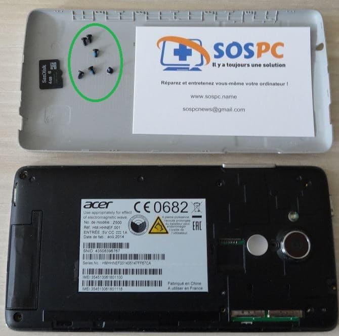 Changer de la batterie d'un Acer Z500. Sospc.name.