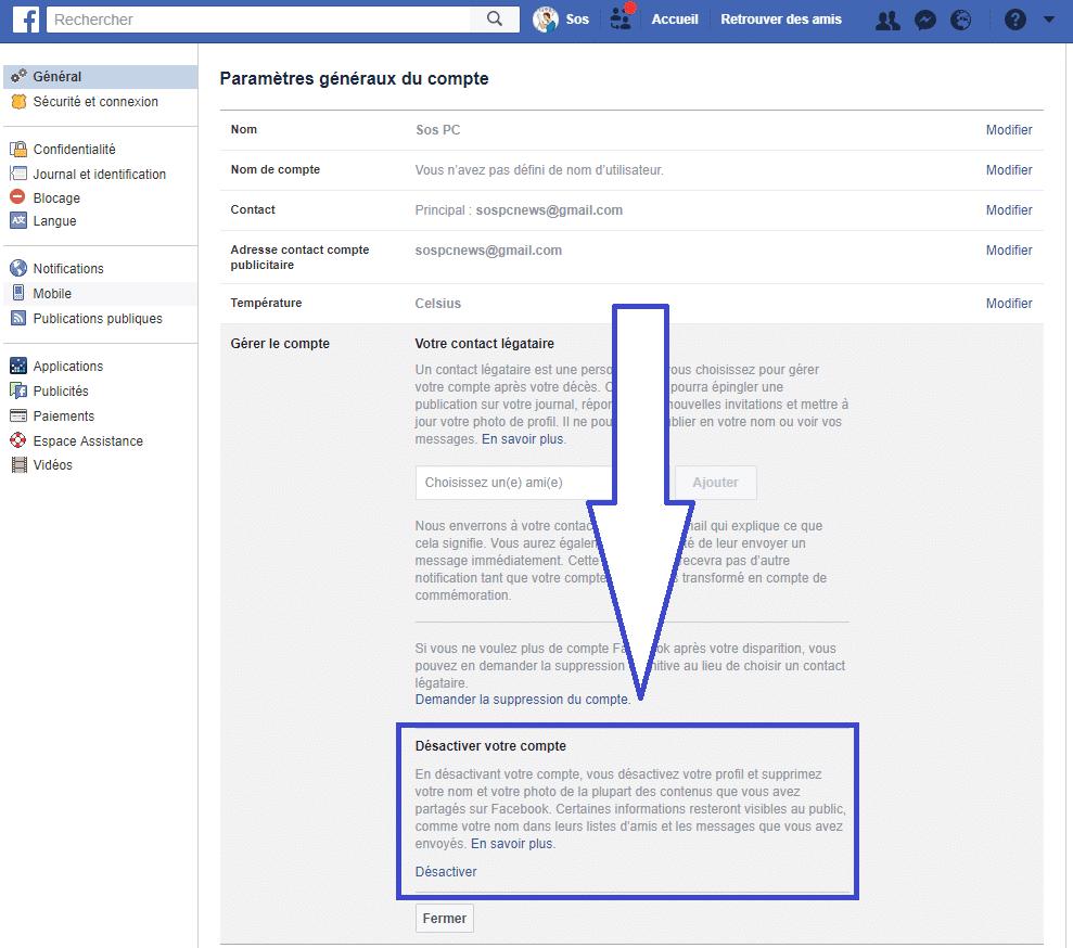 Comment désactiver son Compte Facebook. Tutoriel, capture 3