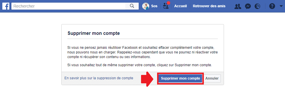 Comment supprimer son Compte Facebook. SOSPC.name.