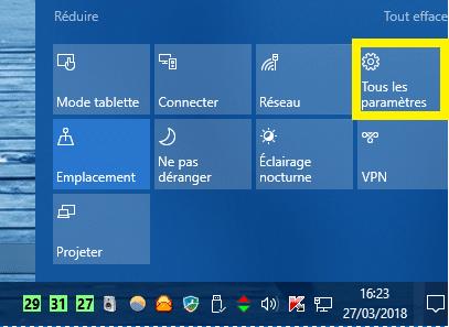 windows 10 tous les paramètres
