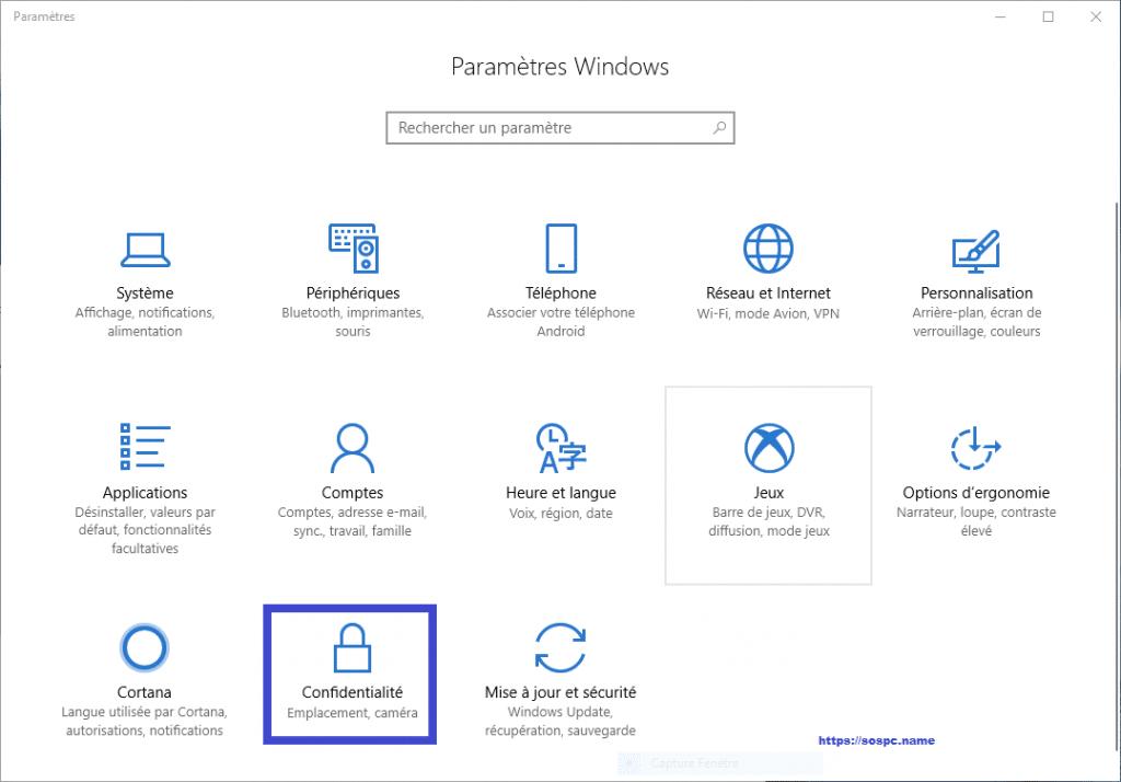 désactiver le Keylogger de Windows 10 sospc tutoriel