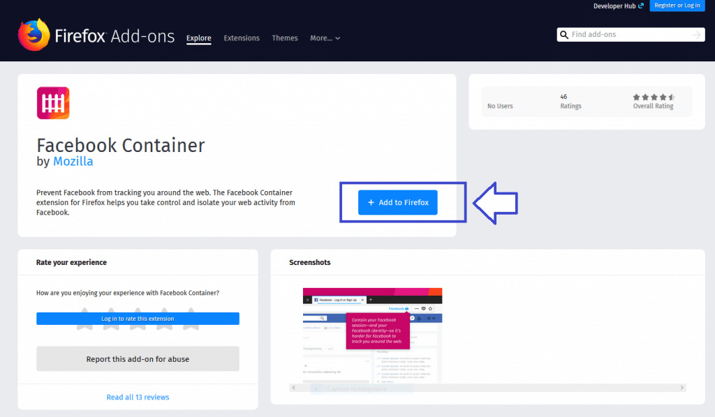 Facebook Container une extension Firefox téélcharger