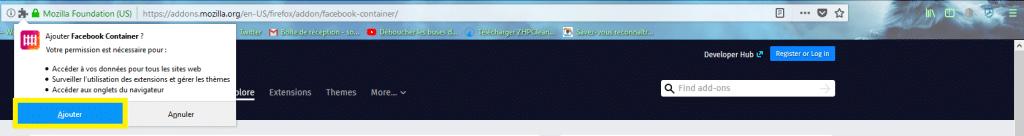 Facebook Container extension Firefox qui préserve votre vie privée.sospc.