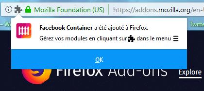 Facebook Container extension Firefox qui préserve votre vie privée. limiter le tracking