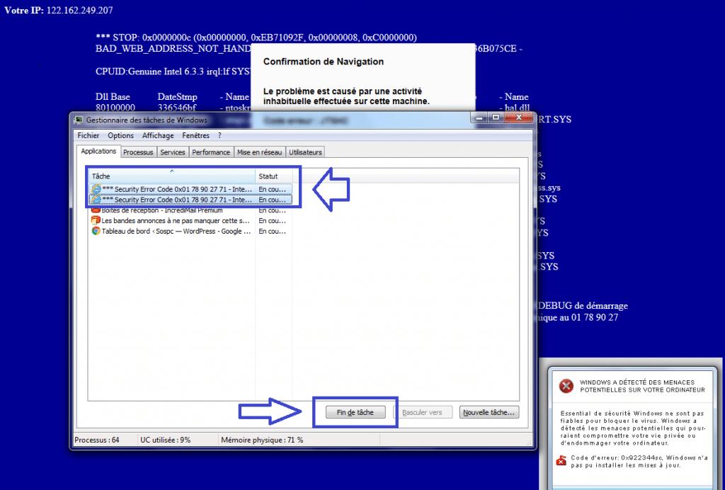 Fausses alertes PC infecté.,exemple.