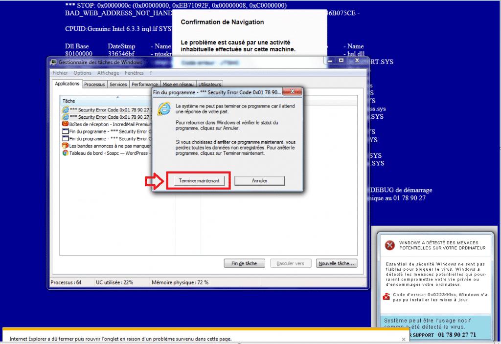 Fausses alertes PC infecté., que faire ? cas concret.