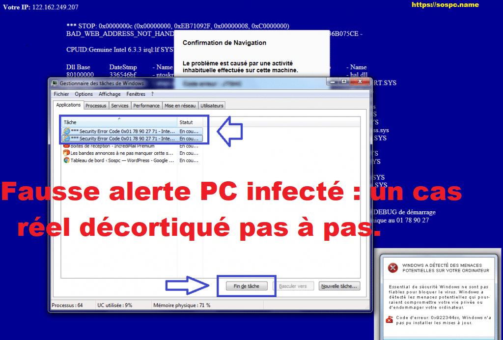 Fausse alerte PC infecté: un cas réel décortiqué pas à pas, par Azamos.