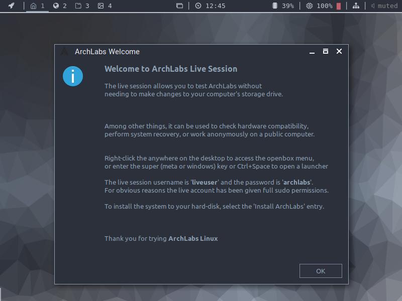 distribution Linux ArchLabs, TUTORIEL d'INSTALLATION sur SOSPC