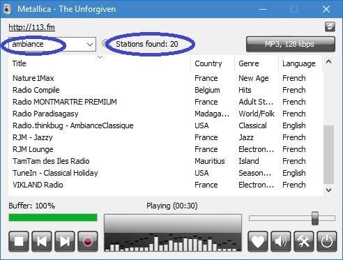 RadioSure, lecteur de Webradios, tutoriel utilisation capture 4