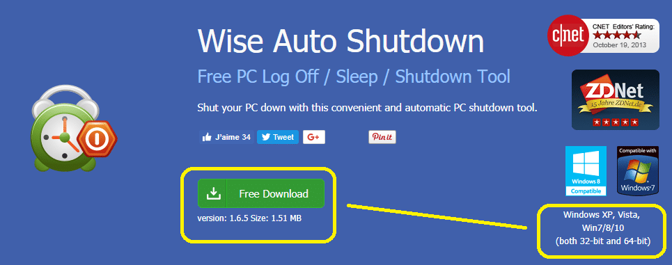 Wise Auto Shutdown, télécharger
