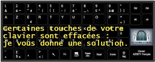 Certaines touches de votre clavier sont effacées : je vous donne une solution.