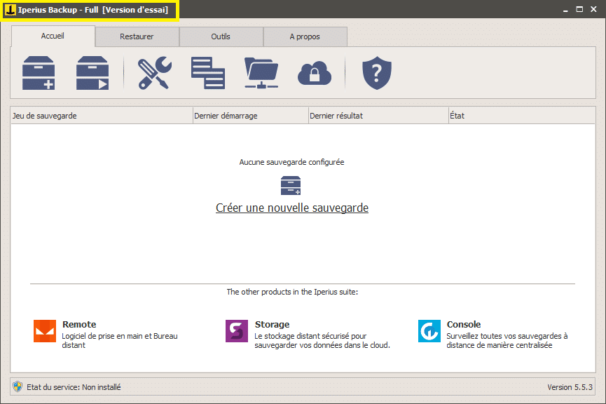 Iperius Backup activer version d'essai tutoriel