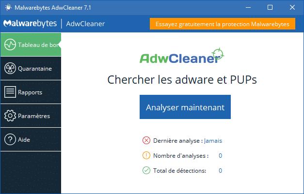 Malwarebytes Adwcleaner 7.1, nouvelle interface.