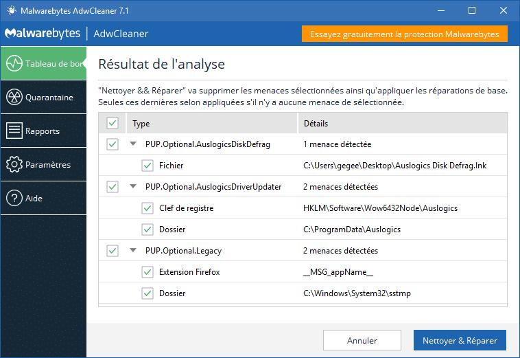 Malwarebytes Adwcleaner 7.1, tutoriel sospc
