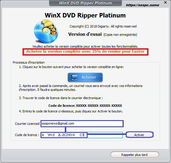 WinX DVD Ripper Platinum activation 2