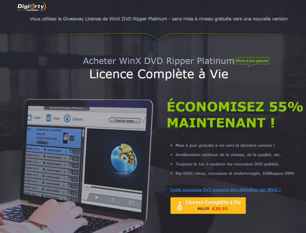 WinX DVD Ripper Platinum licence complète à vie