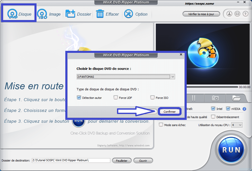 WinX DVD Ripper Platinum tutoriel utilisation capture 1
