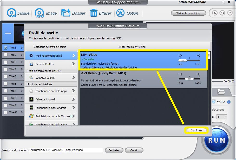 WinX DVD Ripper Platinum tutoriel utilisation capture 3
