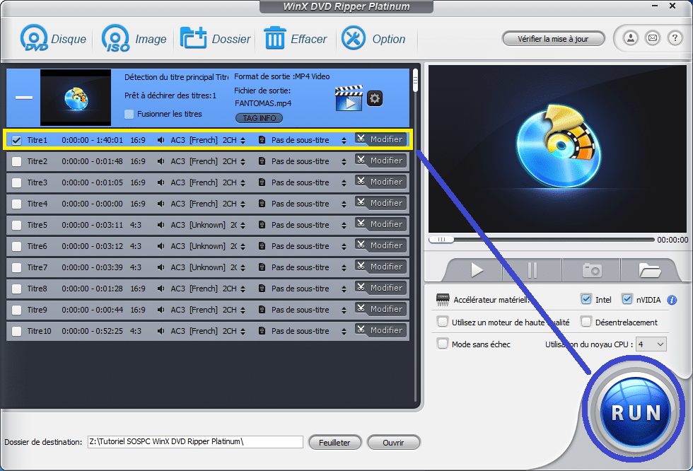 WinX DVD Ripper Platinum tutoriel utilisation capture 4