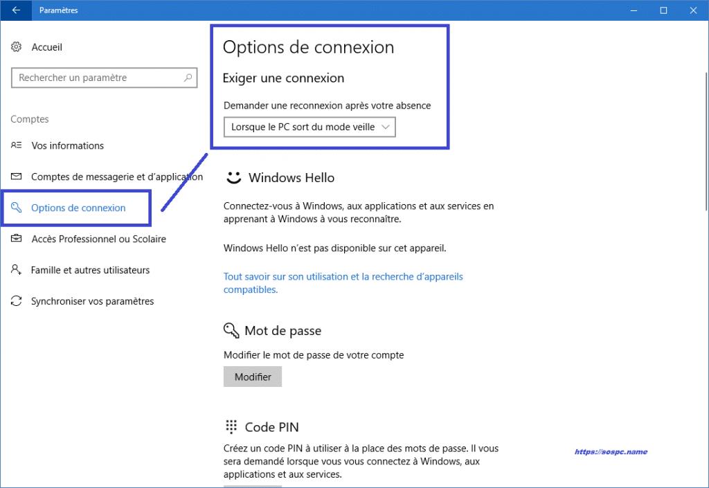 Windows 10 : supprimer la demande de mot de passe à la sortie de veille. Sospc.name.