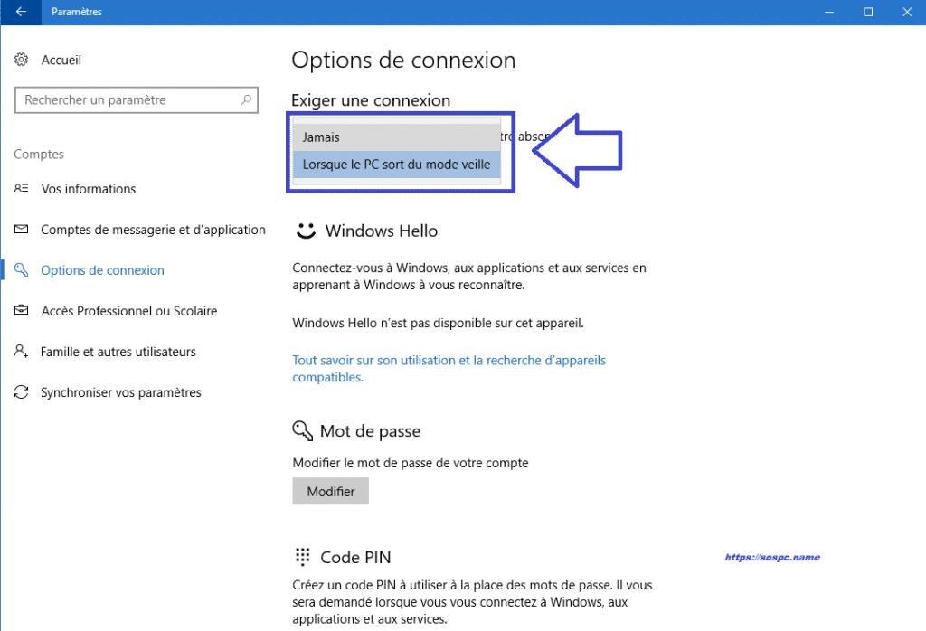 Windows 10 : supprimer la demande de mot de passe à la sortie de veille. Sospc.name. Tutoriel.