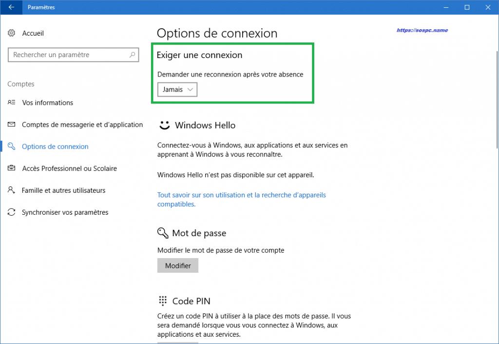 Windows 10 comment supprimer la demande de mot de passe à la sortie de veille.