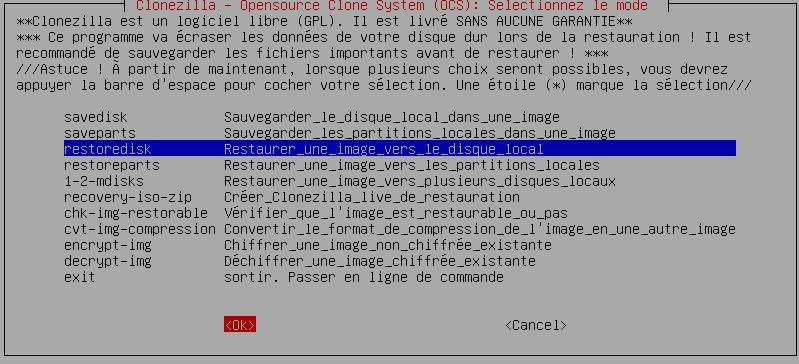 Clonezilla : Backup/Clonage de Disque, tutoriel sospc.name capture 17