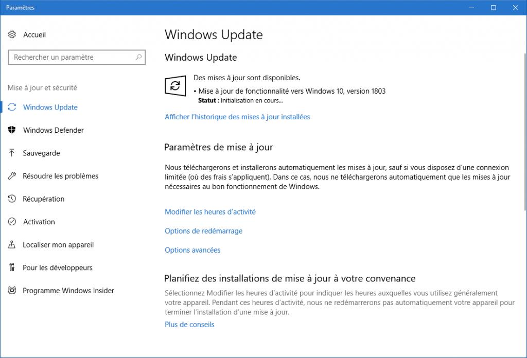 Windows 10 1803 est disponible, 3 façons de l'obtenir.sospc