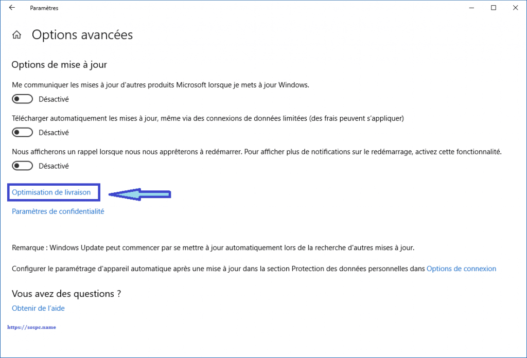 Windows 10 limiter la bande passante allouée à Windows Update. sospc.