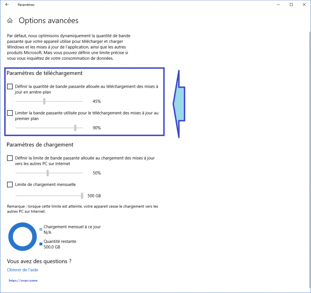 Windows 10 limiter la bande passante allouée à Windows Update.tutoriel.