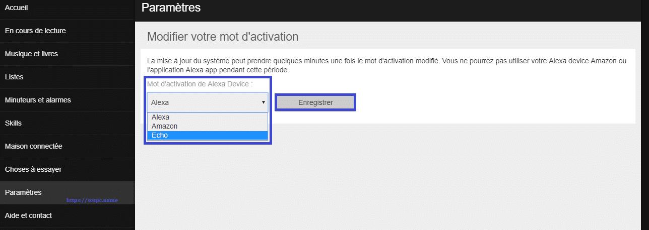 Amazon Echo remplacer le terme d'activation Alexa. SOSPC.