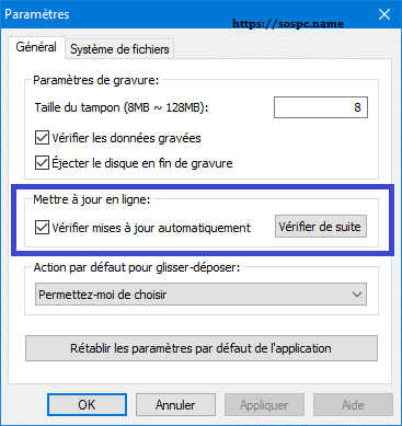 Anyburn, logiciel de gravure tutoriel paramétrage. SOSPC.name.