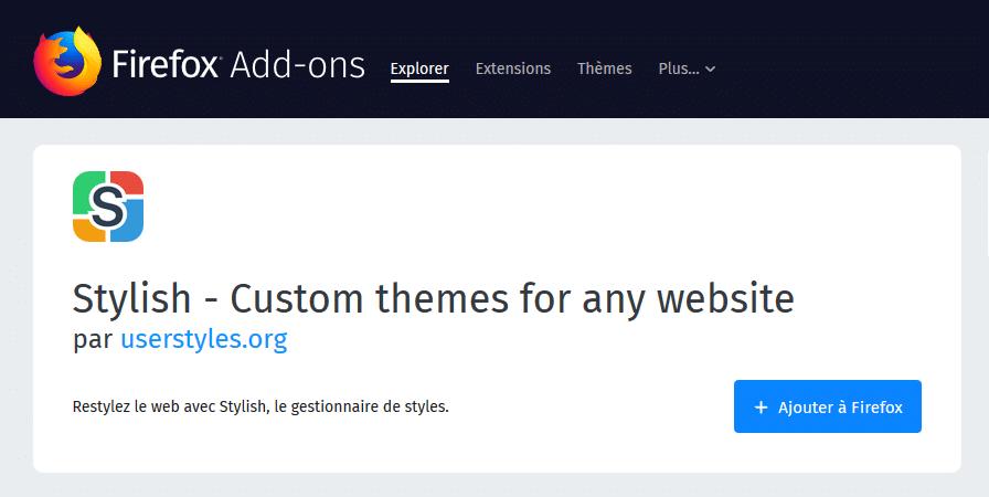 Thèmes sombres pour Firefox exemples.